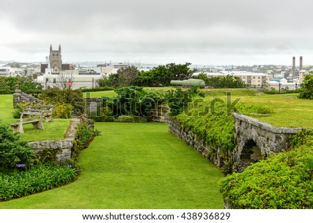 Bermuda - May 20, 2016: Fort Hamilton is a picturesque site overlooking the lush gardens and the harbor. It was built in 1870s to protect the Hamilton Harbor and form a line of defense. #438936829