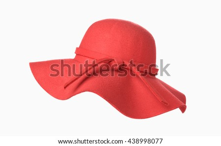 Woman`s summer red straw hat isolated on white background #438998077