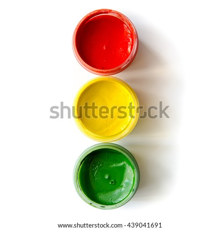 traffic light made of paints isolated on a white background #439041691