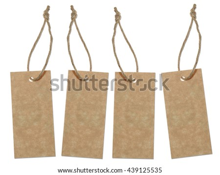 Blank brown tags isolated on white background #439125535