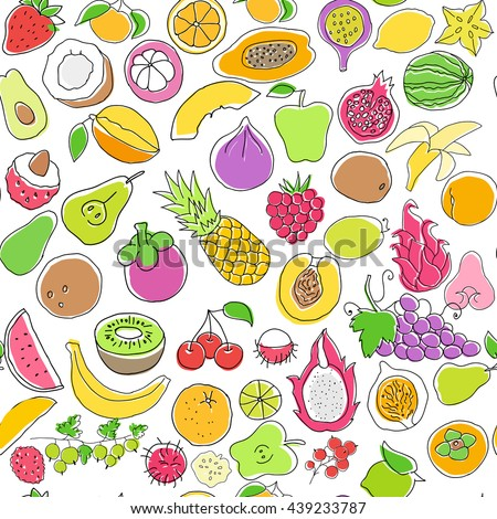 Seamless pattern with fruits #439233787