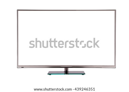 modern thin plasma LCD TV on a silver black glass stand isolated on a white background, standing on the background screen to the viewer #439246351