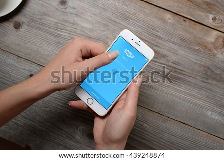 BELGRADE, SERBIA - JUNE 19,2016: Iphone 6 with Skype application login on a screen.Skype was founded in 2003 by Niklas Zennstr�?�¶m, from Sweden, and Janus Friis, from Denmark #439248874
