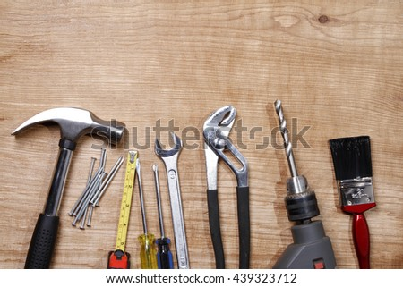 Assorted work tools on wood #439323712