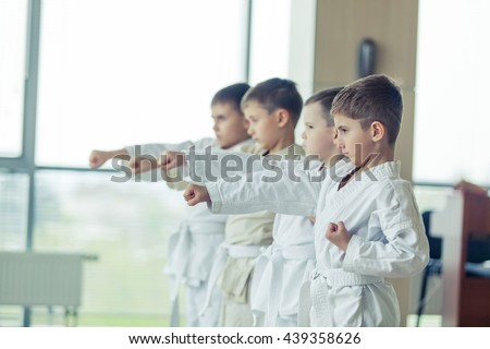 young, beautiful, successful multi ethical kids in karate position Royalty-Free Stock Photo #439358626