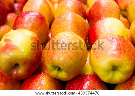 Apple is a fruit that is popular around the world and has health benefits. #439374478