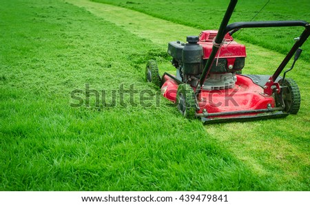 Red Lawnmower cutting bright green grass in football fields backyard Gardening care service landscaping for the background lawnmower on grass equipment Mowing gardener care work tool Close up lawn mow #439479841