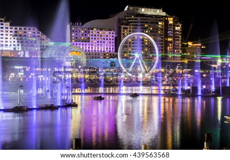 Light and water fountains show at Darling Harbour, Sydney Australia Royalty-Free Stock Photo #439563568