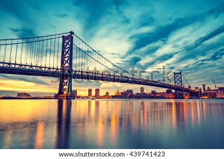 Ben Franklin Bridge in Philadelphia at sunset.