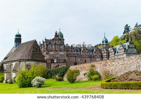 Panoramic view on the castle Emmerthal. Lower Saxony. Germany #439768408