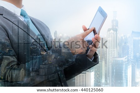 Business concept, double exposure of businessman with city #440125060