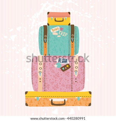illustration. pile of vintage suitcases. #440280991