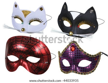 Collection of masks ready for party on white