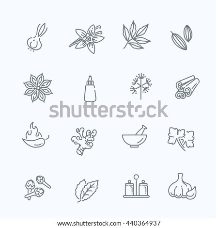 Web icon set - spices, condiments and herbs #440364937