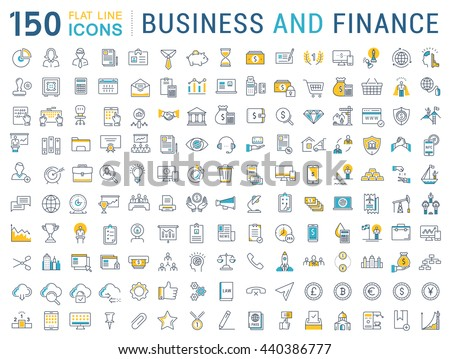 Set vector line icons in flat design business, finance and accounting with elements for mobile concepts and web apps. Collection modern infographic logo and pictogram.