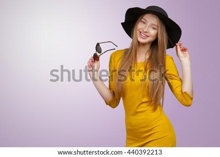 Fashion studio portrait of beautiful young fair hair woman #440392213