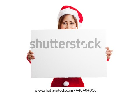 Asian Christmas girl with Santa Claus clothes with blank sign  isolated on white background #440404318