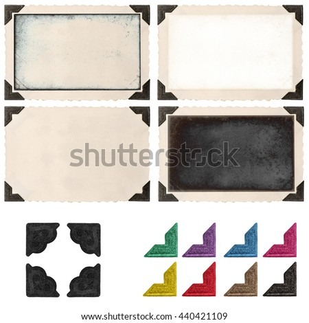 Retro photo frame with photo corner and empty field for your picture isolated on white background. Photo picture frame. Photo picture corner