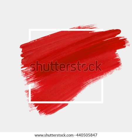 Art abstract background brush paint texture design acrylic stroke poster illustration vector over square frame. Rough paper hand painted vector. Perfect design for headline, logo and sale banner.  #440505847