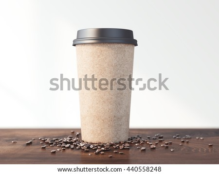 Coffee cup and beans on the wooden table in bright room. 3d rendering #440558248