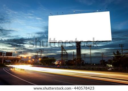 billboard blank for outdoor advertising poster or blank billboard at night time for advertisement. street light #440578423