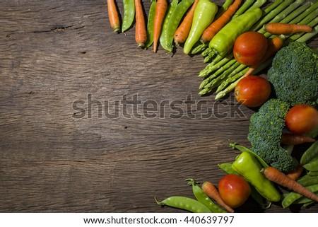green vegetables on wood background #440639797