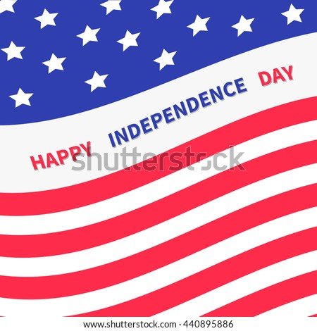 4th of July. Happy independence day United states of America. Waving American flag frame. Greeting card. Flat design. Vector illustration #440895886
