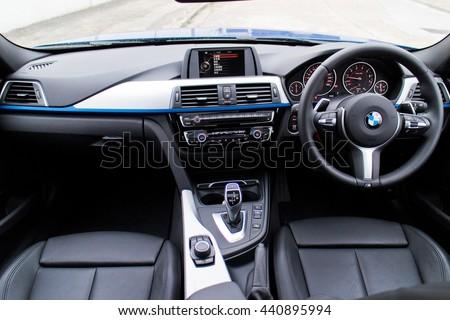 Hong Kong, China Jan 25, 2016 : BMW 330i M Package 2016 Interior on Jan 25 2016 in Hong Kong. #440895994