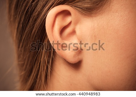 Detail of the head with female human ear and hair close up Royalty-Free Stock Photo #440948983