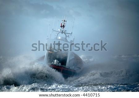 coast guard during storm in ocean #4410715