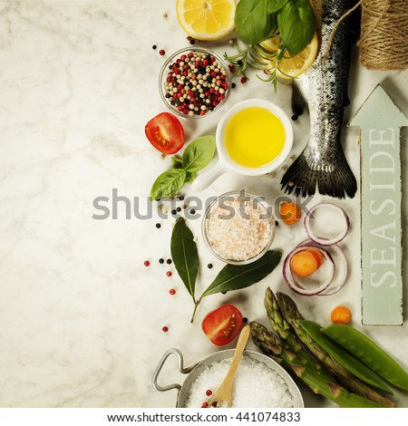 Raw rainbow trout with vegetables, herbs and spices - Health or Cooking concept #441074833