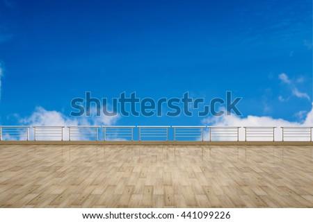 empty terrace on blue sky background #441099226