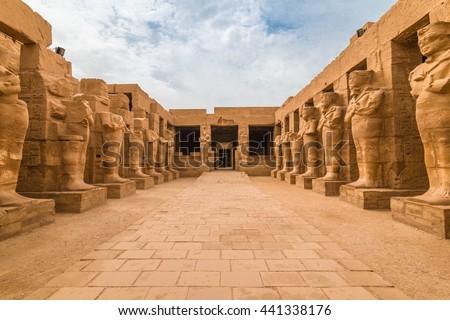 Pharaohs statues in The temple of Karnak in Luxor Egypt #441338176