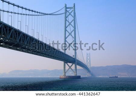 Akashi Kaikyo Bridge the world's longest suspension bridge, Kobe, Japan #441362647
