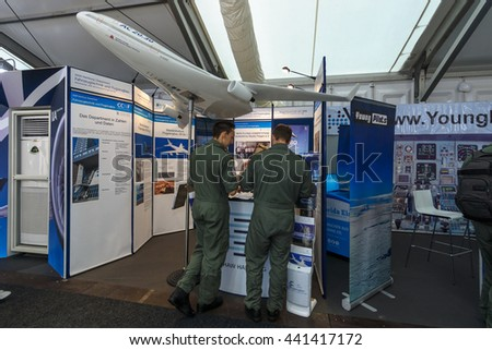 BERLIN, GERMANY - JUNE 01, 2016: The stand of Hamburg University of Applied Science. Department of Automotive and Aeronautical. Exhibition ILA Berlin Air Show 2016. #441417172
