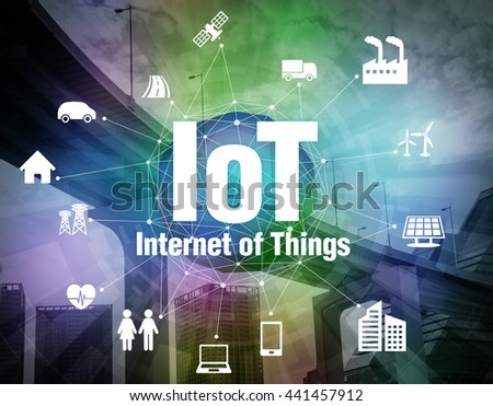 various smart devices and mesh network, internet of things, wireless sensor network, abstract image visual #441457912