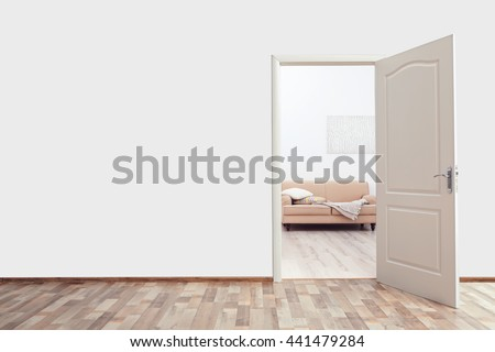 Open door in the room Royalty-Free Stock Photo #441479284