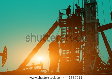 Oil drilling exploration, the oil workers are working #441587299