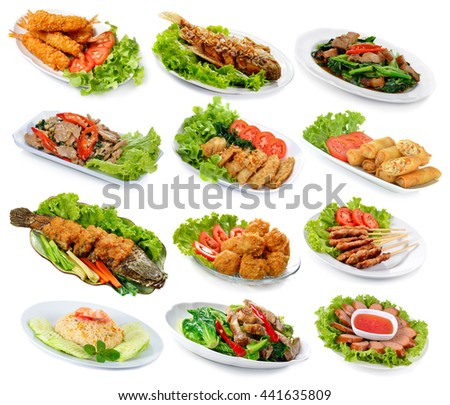 Thai food isolated on white background. #441635809