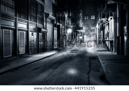 Moody monochrome view of Cortlandt Alley by night, in Chinatown, New York City Royalty-Free Stock Photo #441915235