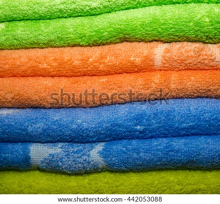 Background with bright pure colored Terry towels. #442053088