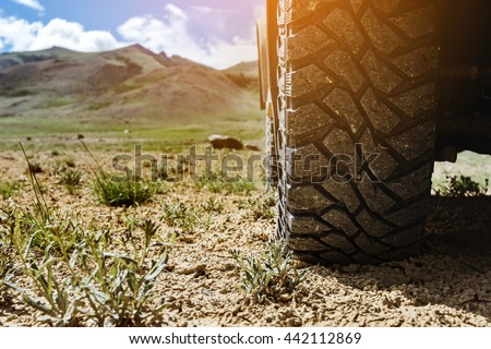 Closeup photo of car wheel on steppe terrain  #442112869