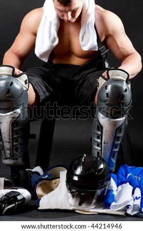 Picture of hockey player after game