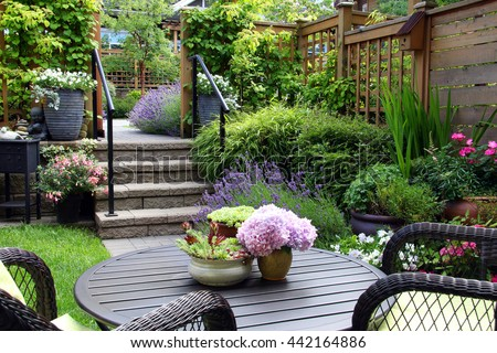 Small townhouse perennial summer garden. Also available in vertical.  #442164886