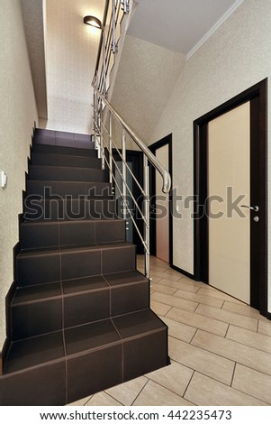 staircase with wrought iron railing #442235473