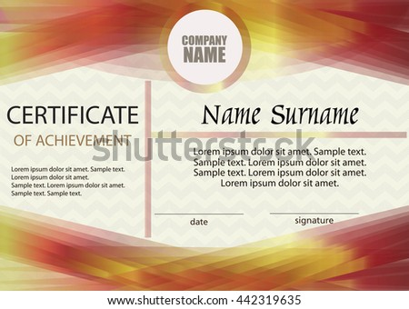 Certificate of achievement or diploma template. Horizontal. Award winner. Winning the competition. Reward. The text on separate layer. Vector illustration. #442319635