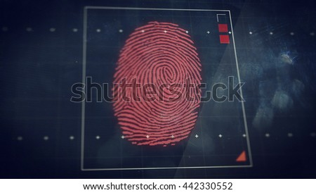 3D rendering of Abstract technology background. Security system concept with fingerprint scanning. #442330552