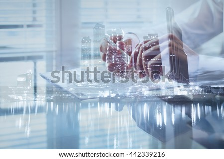 signing contract, double exposure background, business deal, concept about terms and regulations