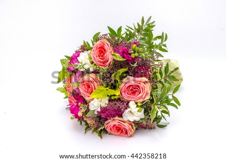 Wedding bouquet made of color roses isolated on a white background #442358218