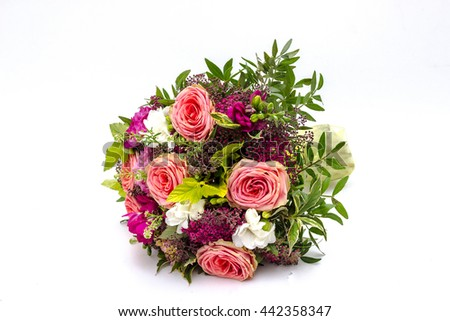 Wedding bouquet made of color roses isolated on a white background #442358347